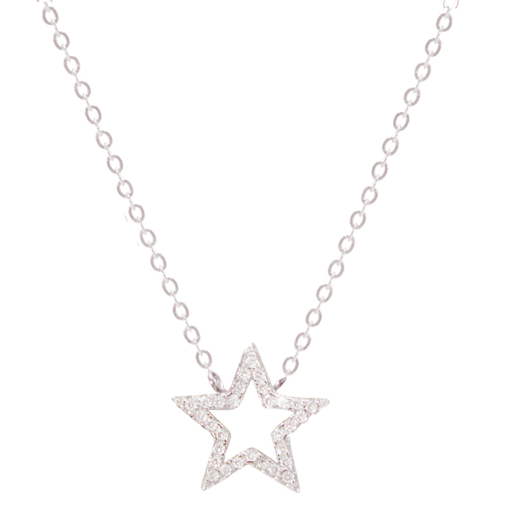 Necklace - CZ Open Star