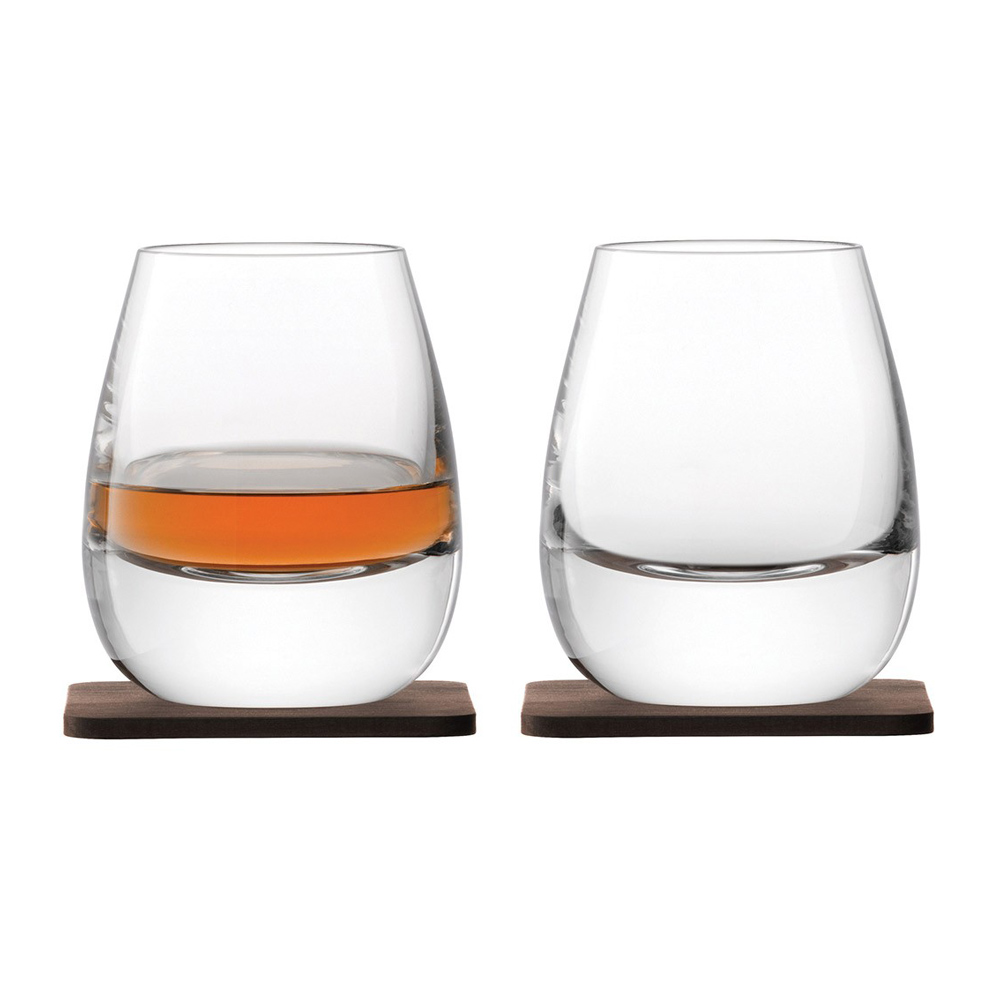 Whisky Islay Tumbler 250ml Clear & Walnut Coaster x 2