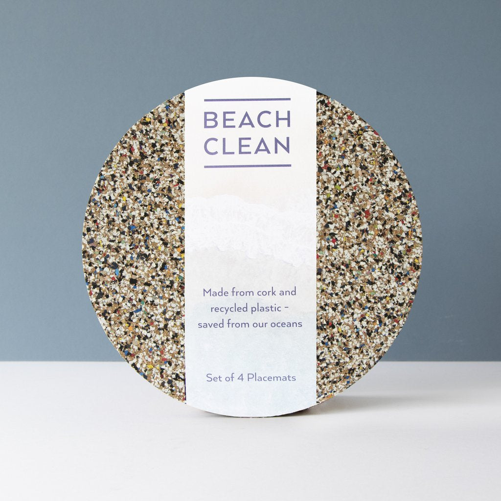 Set of 4 Beach Clean Round Placemats