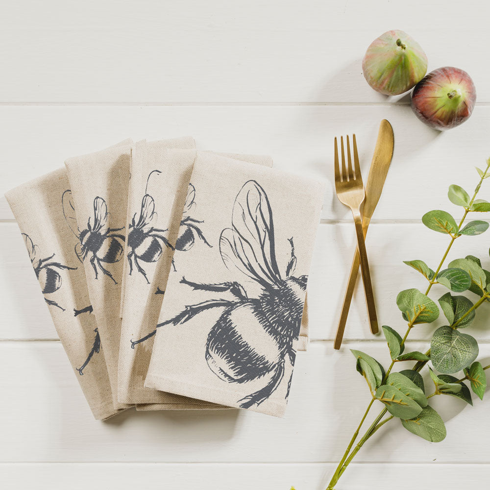 Set of 4 Linen Bee Napkins