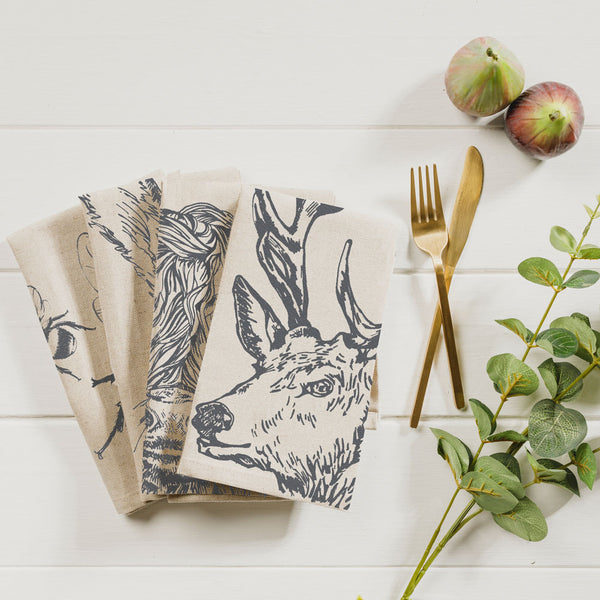 Set of 4 Country Animals Linen Napkins