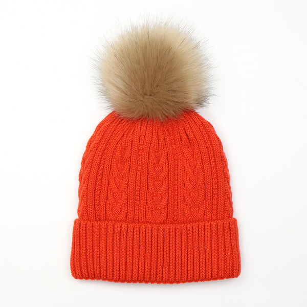 Orange Cable Knit Hat with Faux Fur Pom Pom