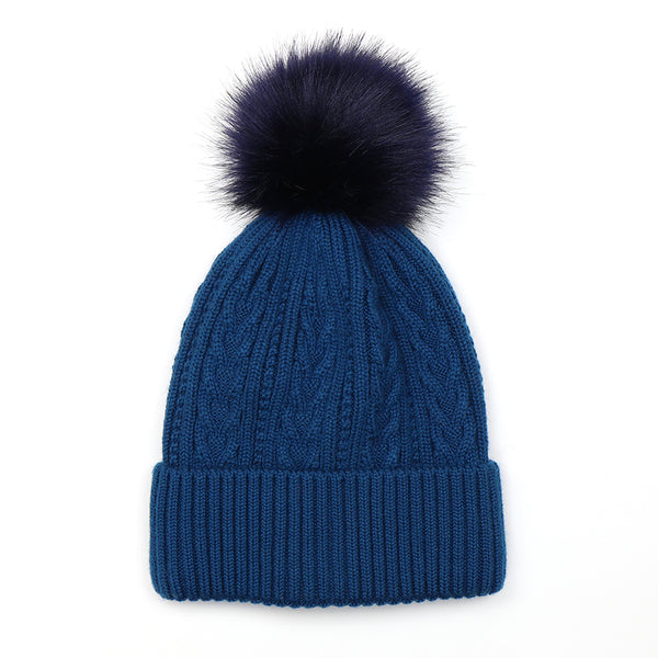 Teal Cable Knit Hat With Matching Faux Fur Pom Pom