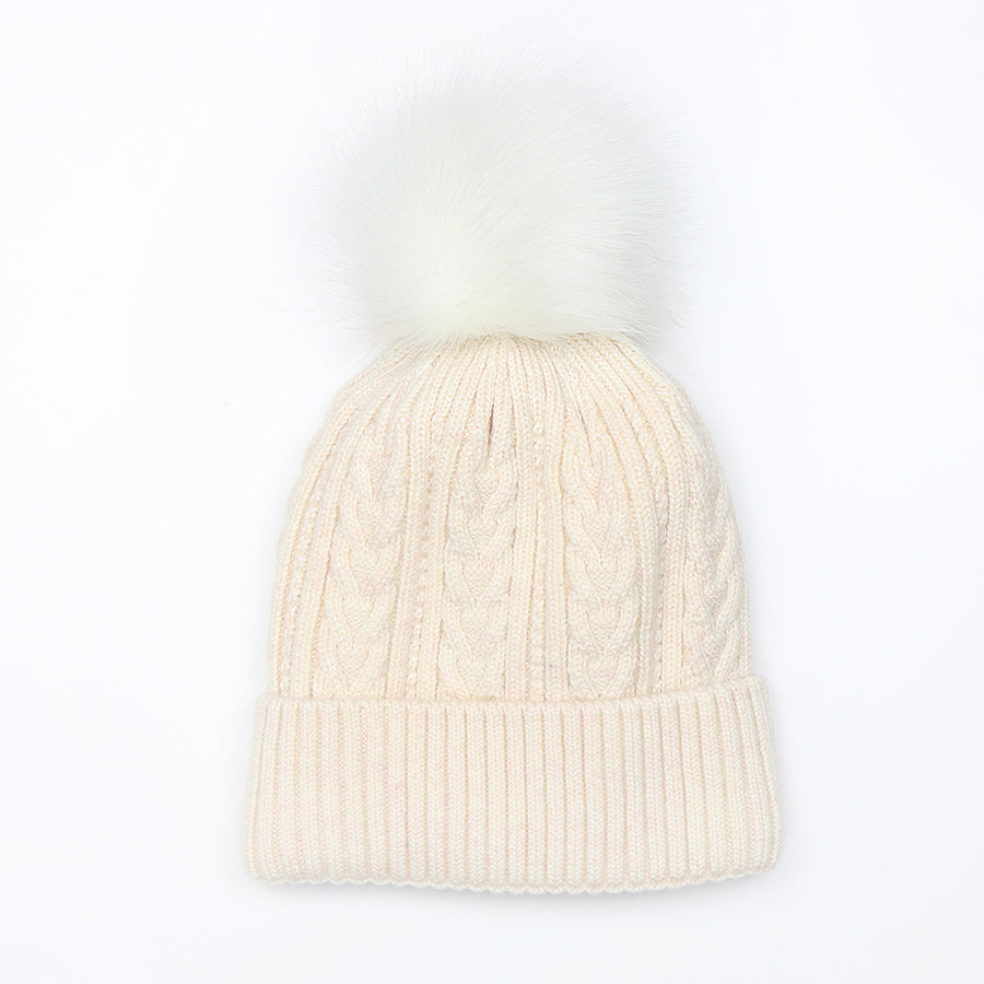 Oatmeal Cable Knit Hat with Faux Fur Pom