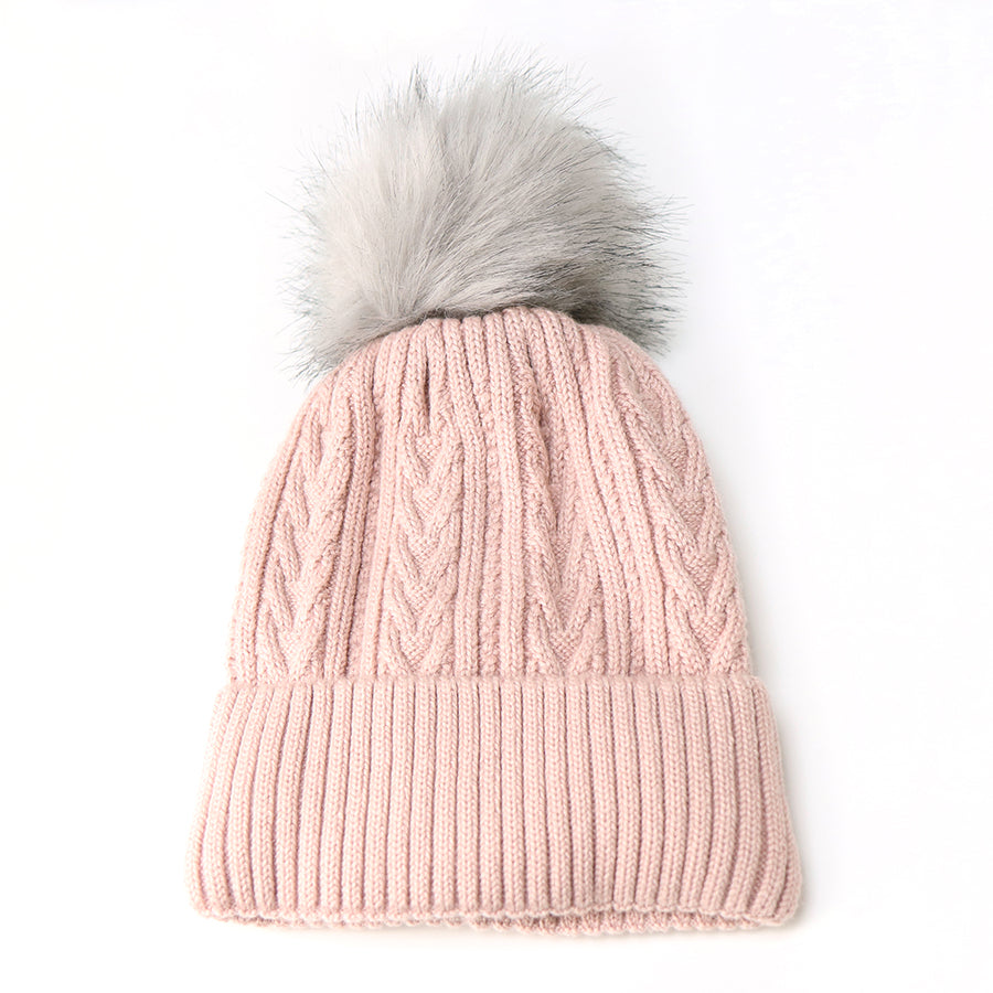 Pale Pink Cable Knit Hat With Faux Fur Pom Pom