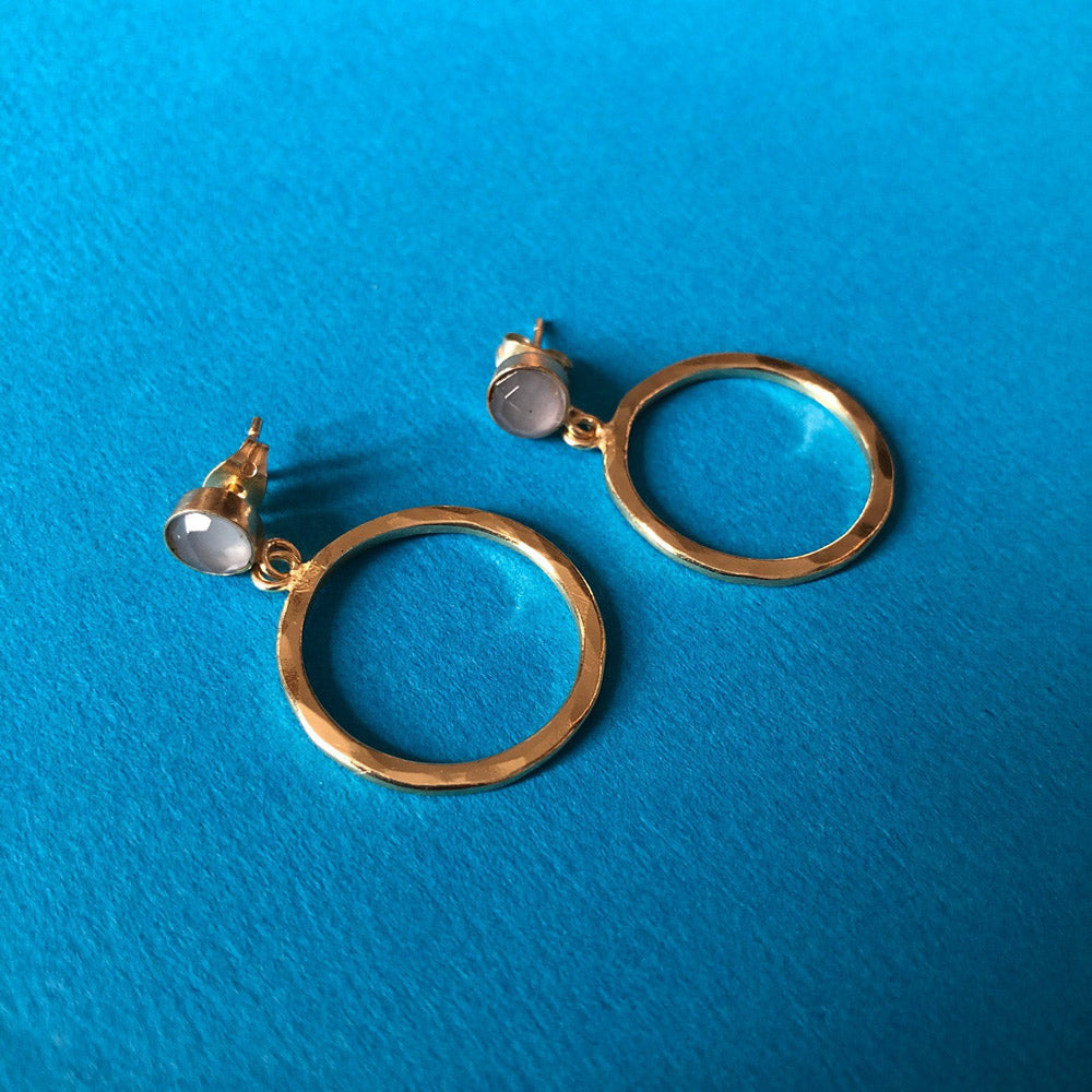 Circle Earrings with Stone Stud