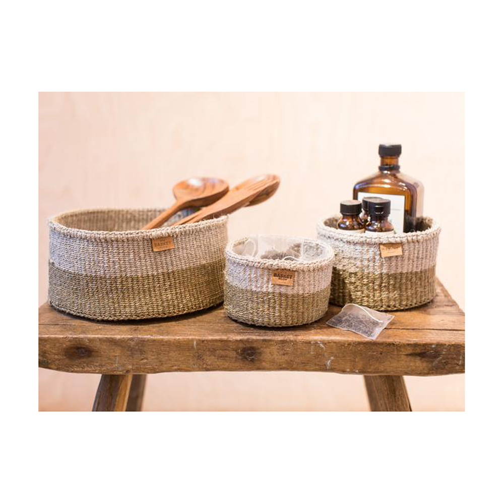 CHALI Brown & Grey Block Woven Basket - Large