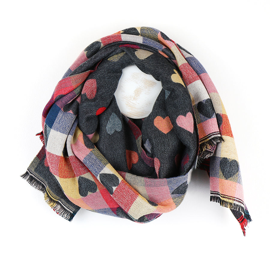 Grey & Multi Coloured Hearts Scarf