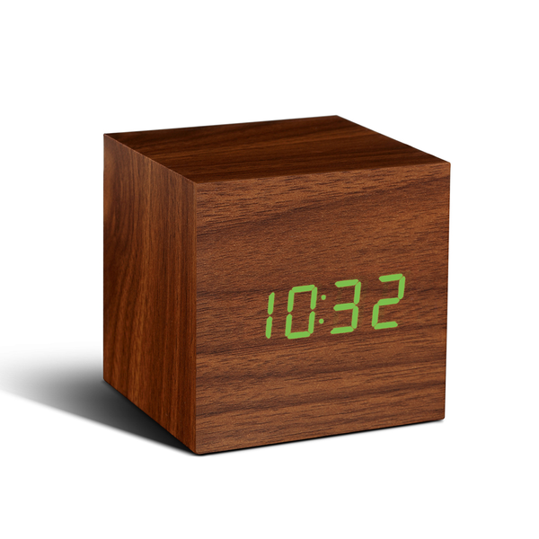 Cube Click Clock - Walnut/green LED