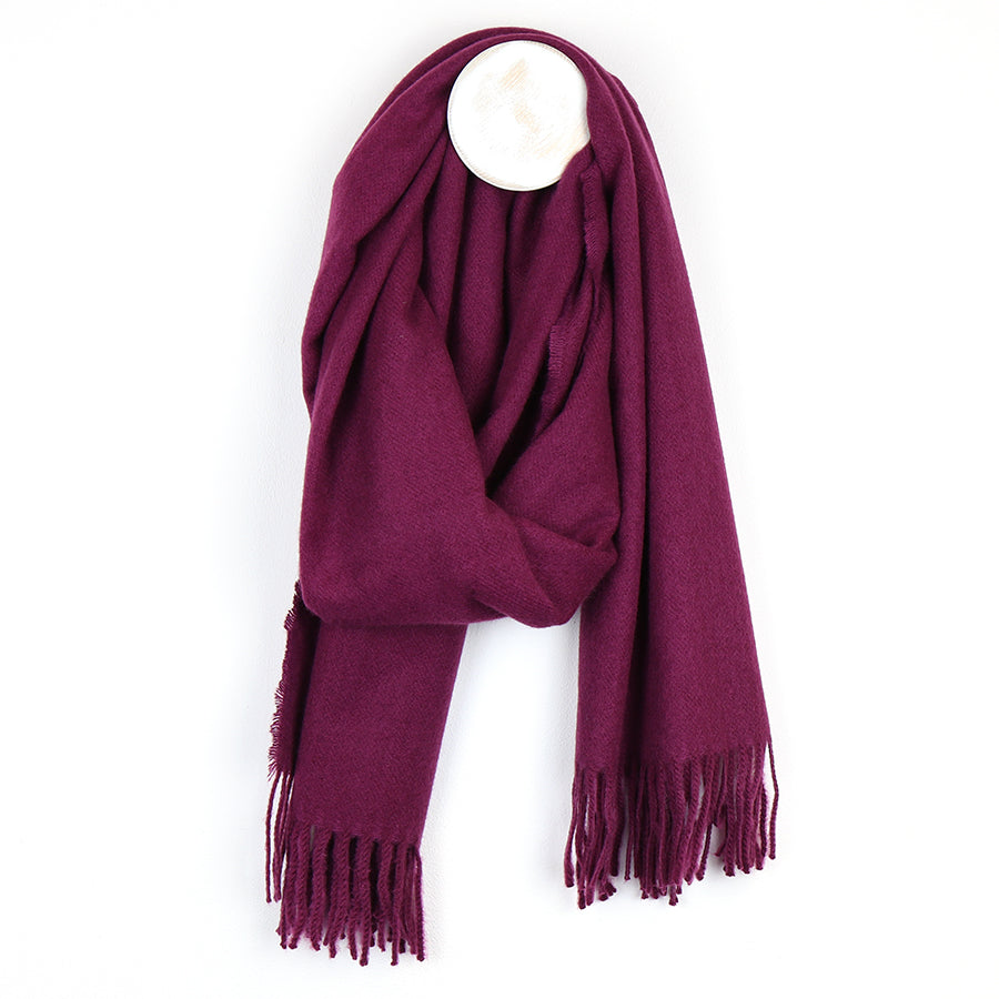 Recycled Yarn Fringed Scarf - Mulberry