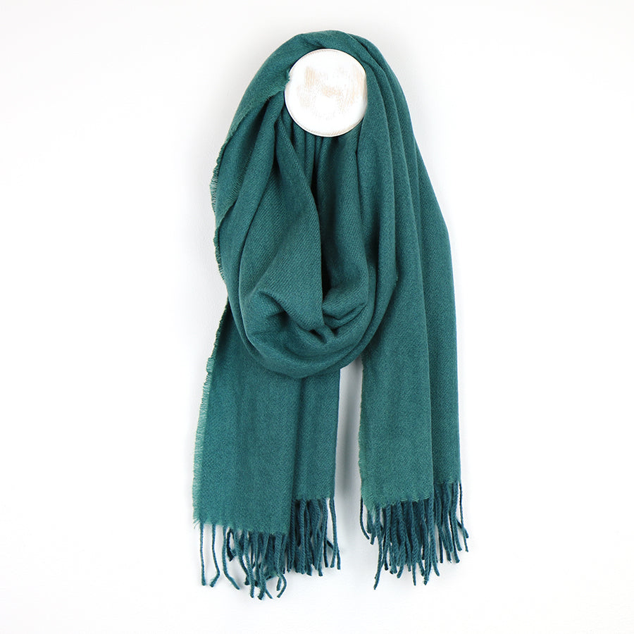 Recycled Yarn Fringed Scarf - Teal Green