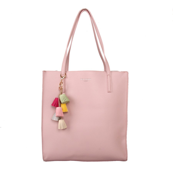 d1ad3029c Pink tote bag with tassel charm