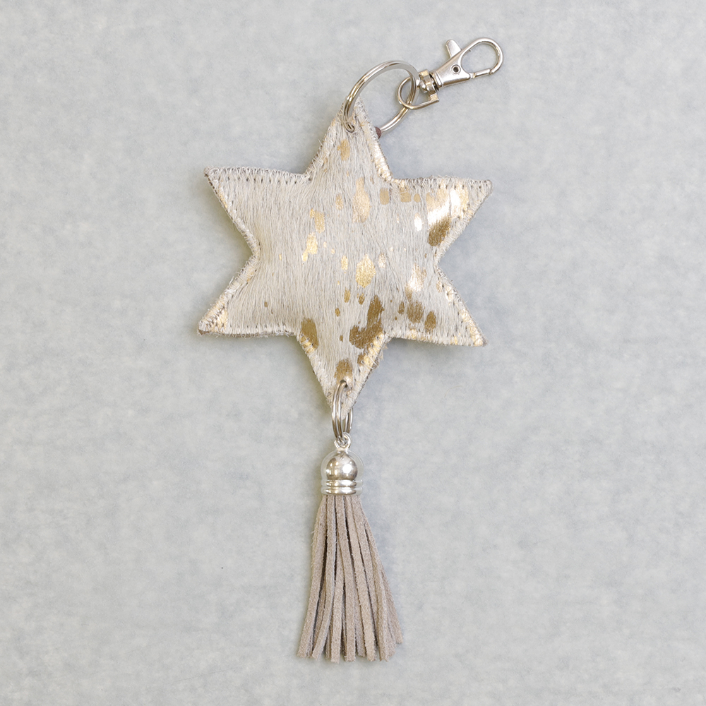 White/Gold Leather Star Keyring