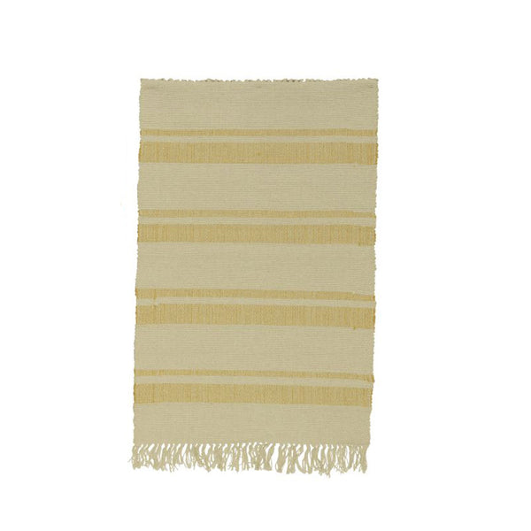 Woven Striped Rug - Yellow