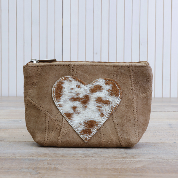 Leather Heart Pouch - Camel