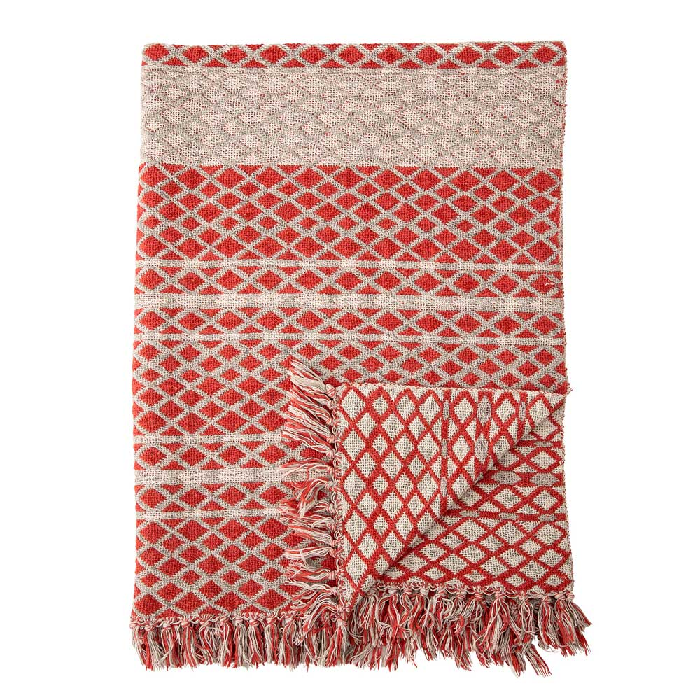 Recycled Cotton Throw in Red