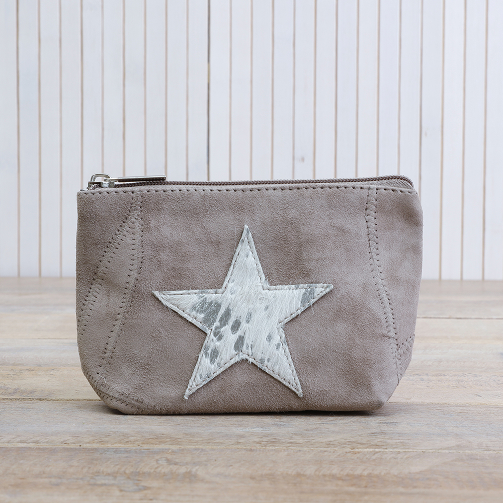 Leather Star Pouch - Grey