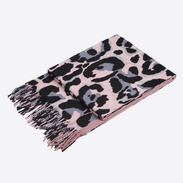 Pink/Grey Animal Print Scarf