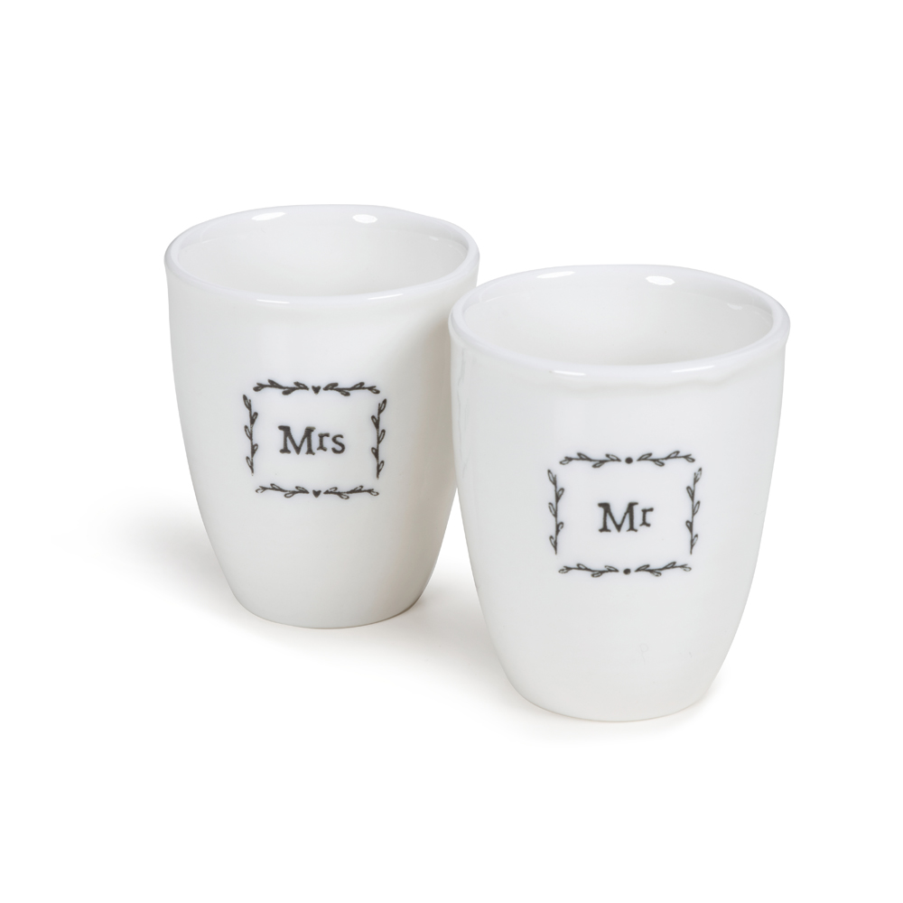 Boxed Mr & Mrs Egg Cup Set