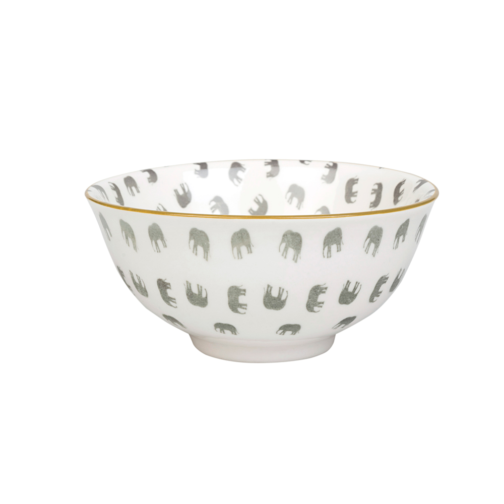 Elephant porcelain patterned nibbles bowl