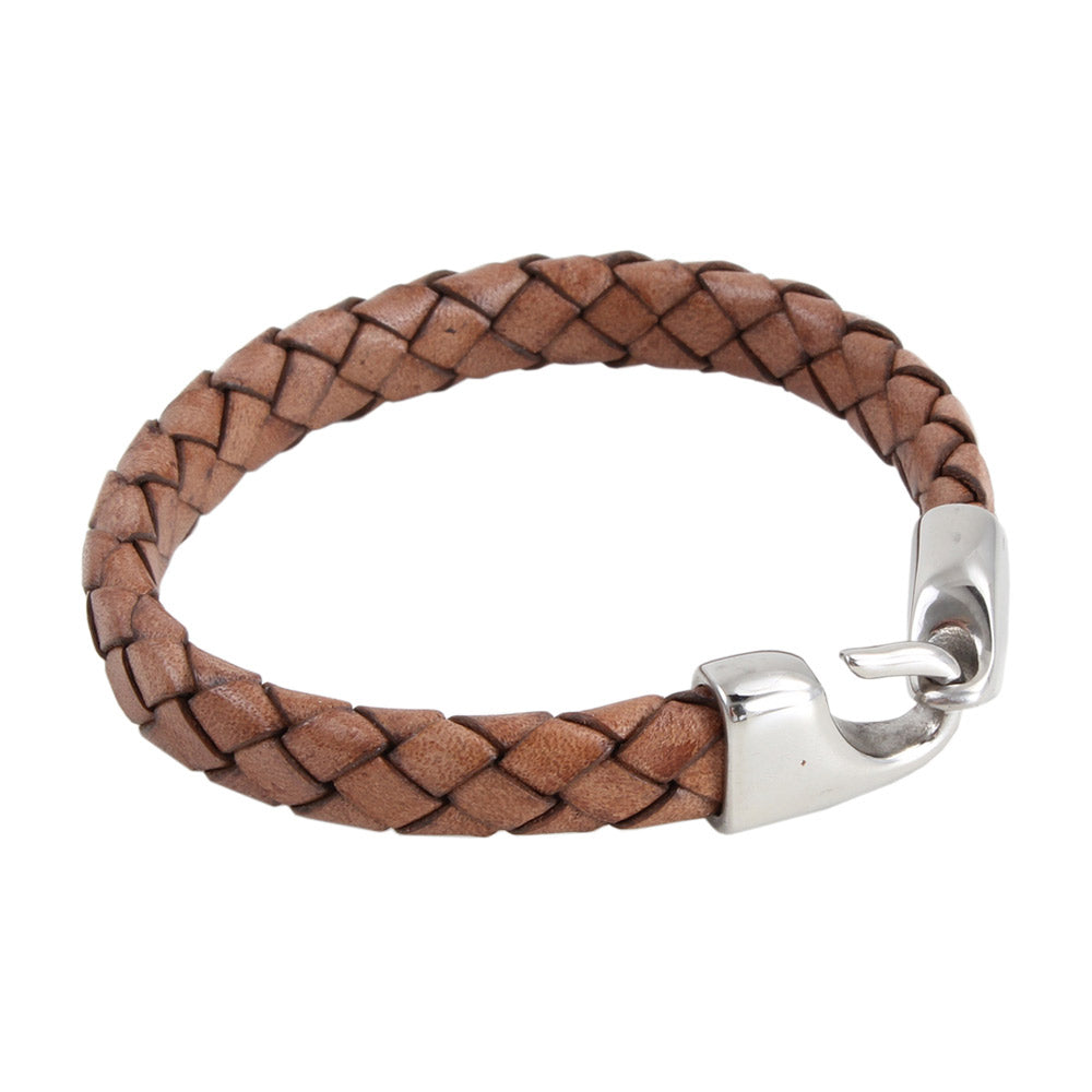Hook Clasp Leather Bracelet in Brown