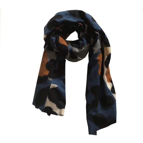 Blue/Camel Animal Print Scarf