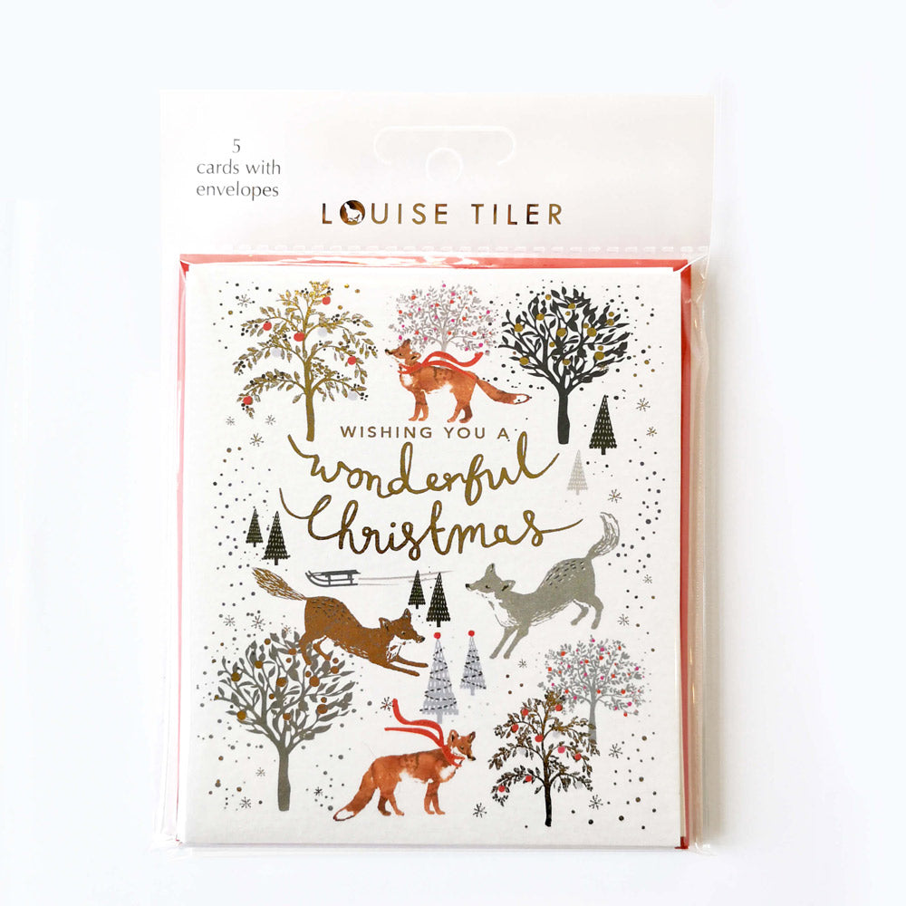 Pack of 5 Wonderful Christmas Foxes Cards