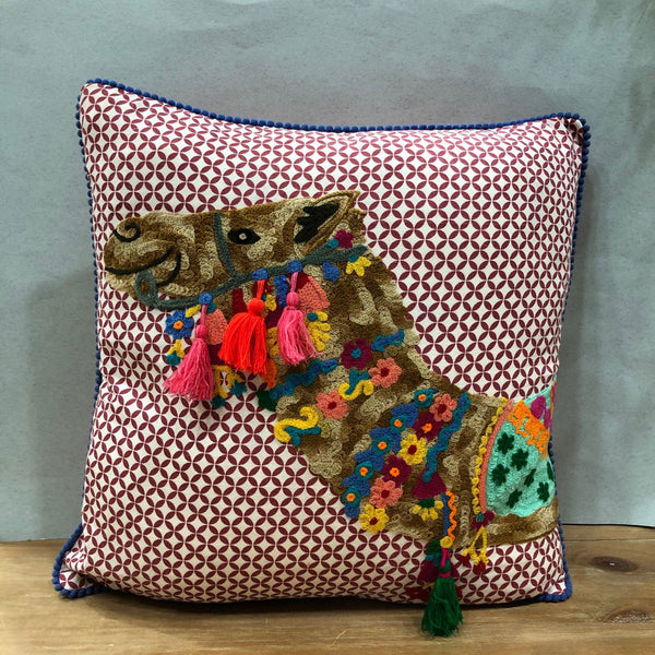 Embroidered Camel Cushion
