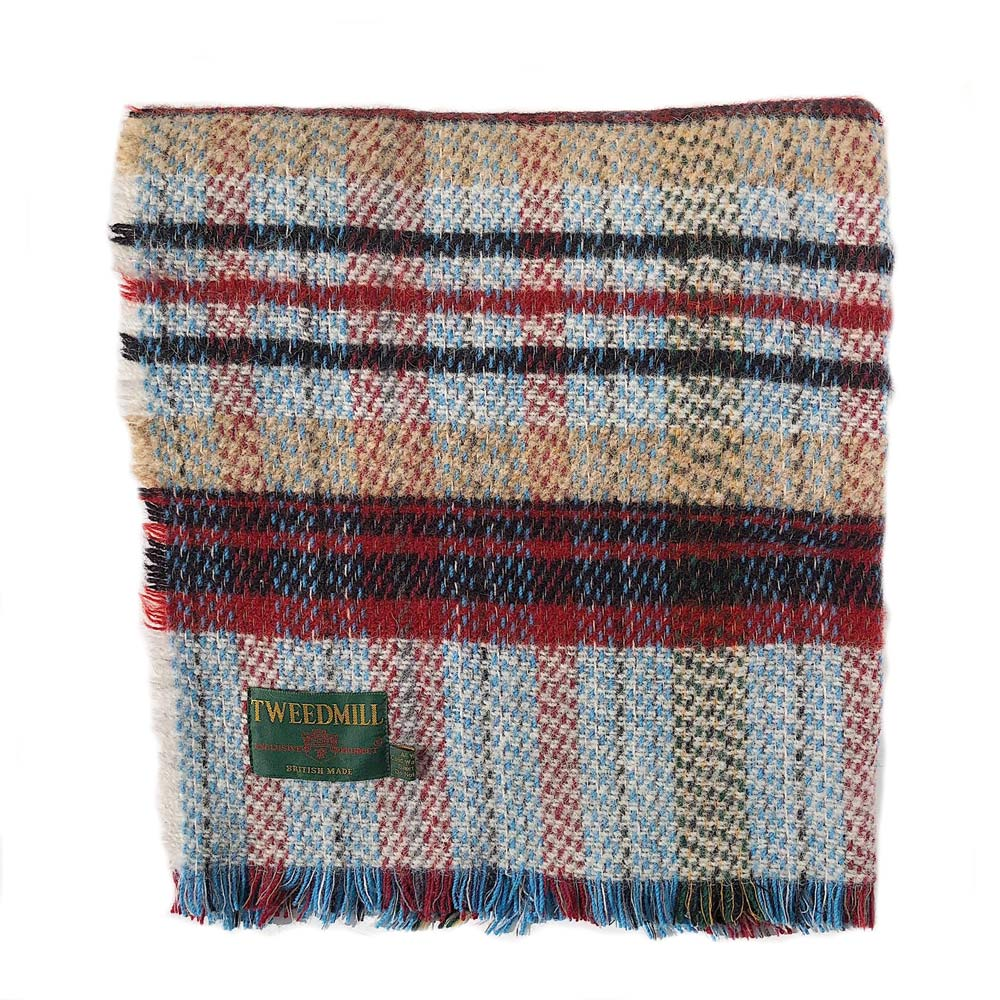 Recycled Wool Blanket - Camel/Red/Blue Check