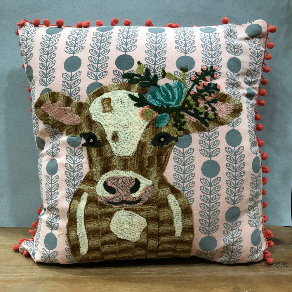 Embroidered Cow Cushion