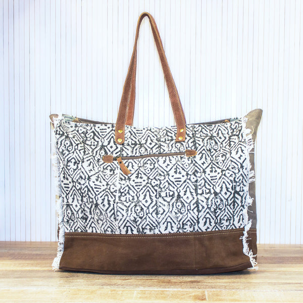 Cowhide and Textile Bag