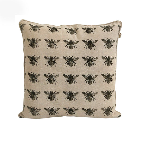 Olive Cotton Bee Cushion