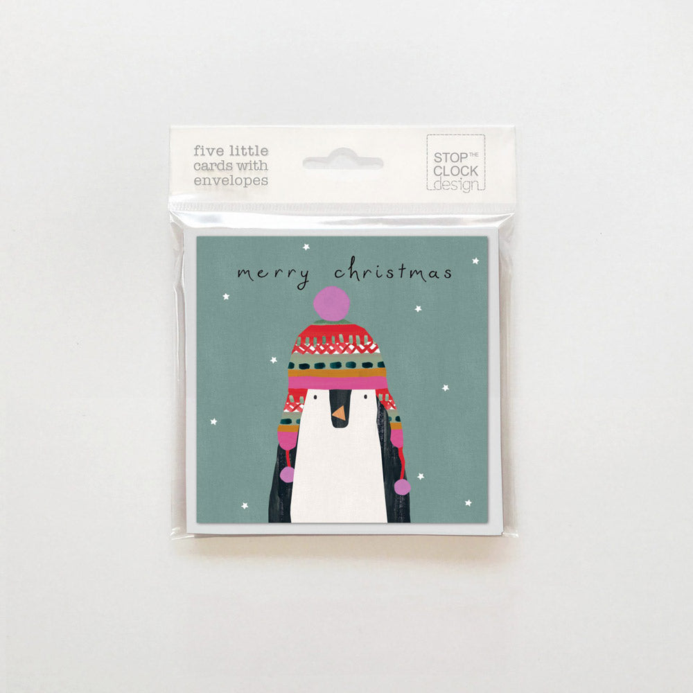 Pack Of 5 Penguin In Hat cards