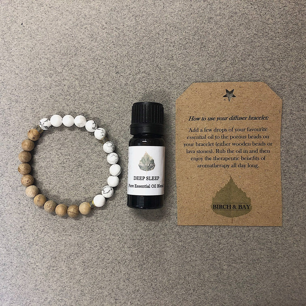 Deep Sleep Essential Oil With Wooden Diffuser Bracelet
