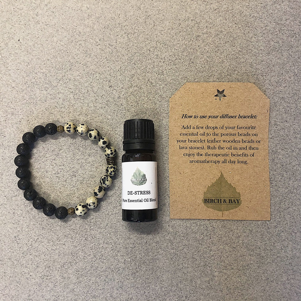 Destress Essential Oil With Lava Stone Diffuser Bracelet