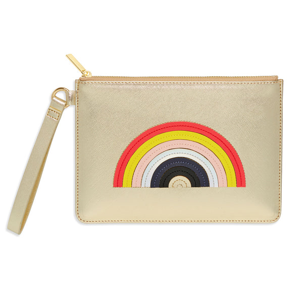 Gold Pouch with Rainbow