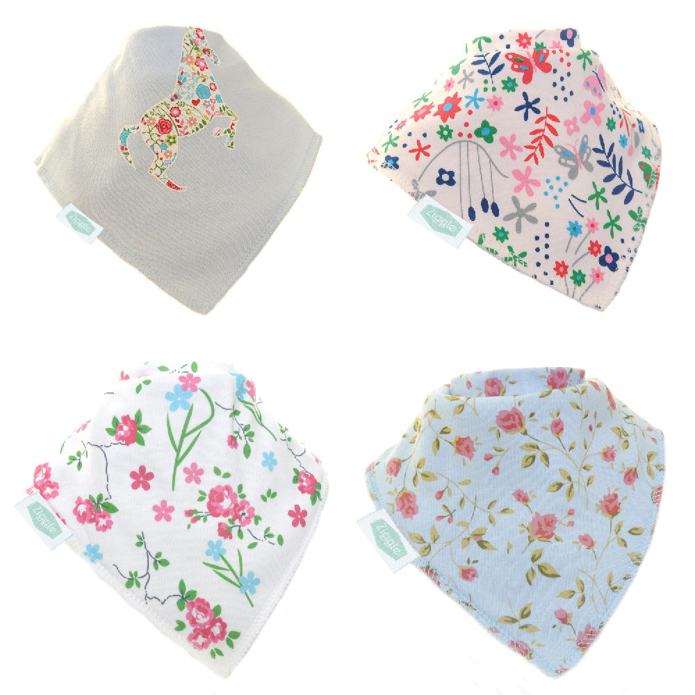 Delicate Blues Bandana Bib Set