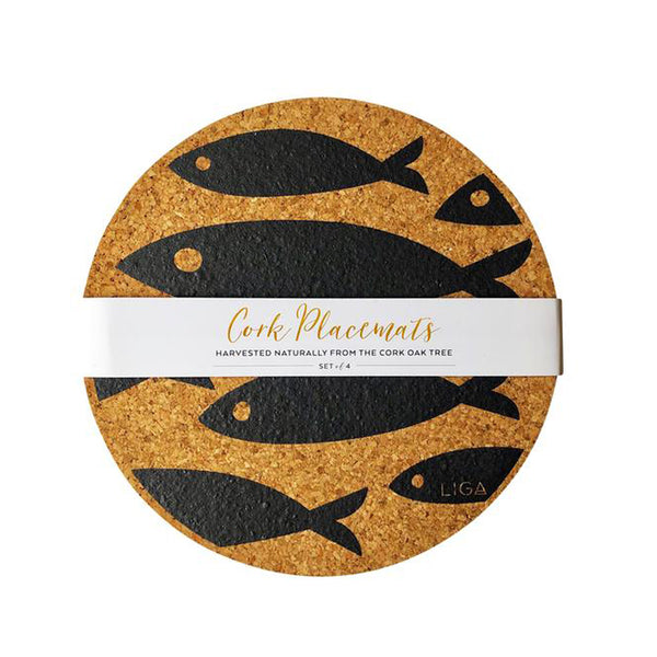 Cork Grey Fish Placemat