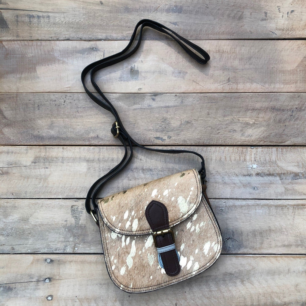 Gold Cowhide/Brown Buckle Bag