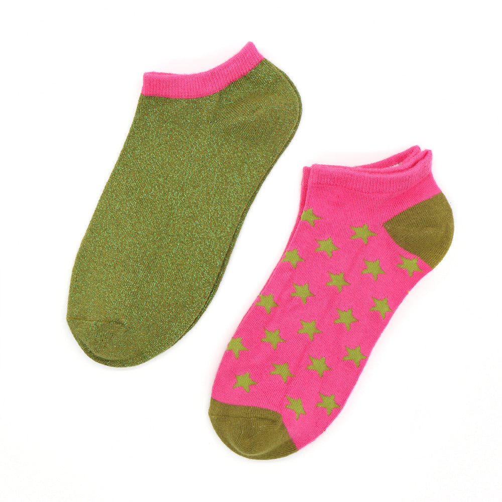 Trainer Socks - Green & Pink