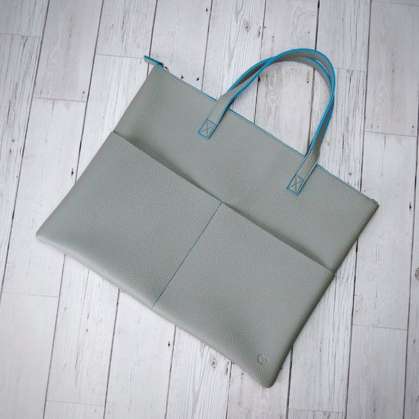 Tucuman Tote Bag in Mushroom with Light Blue Trim