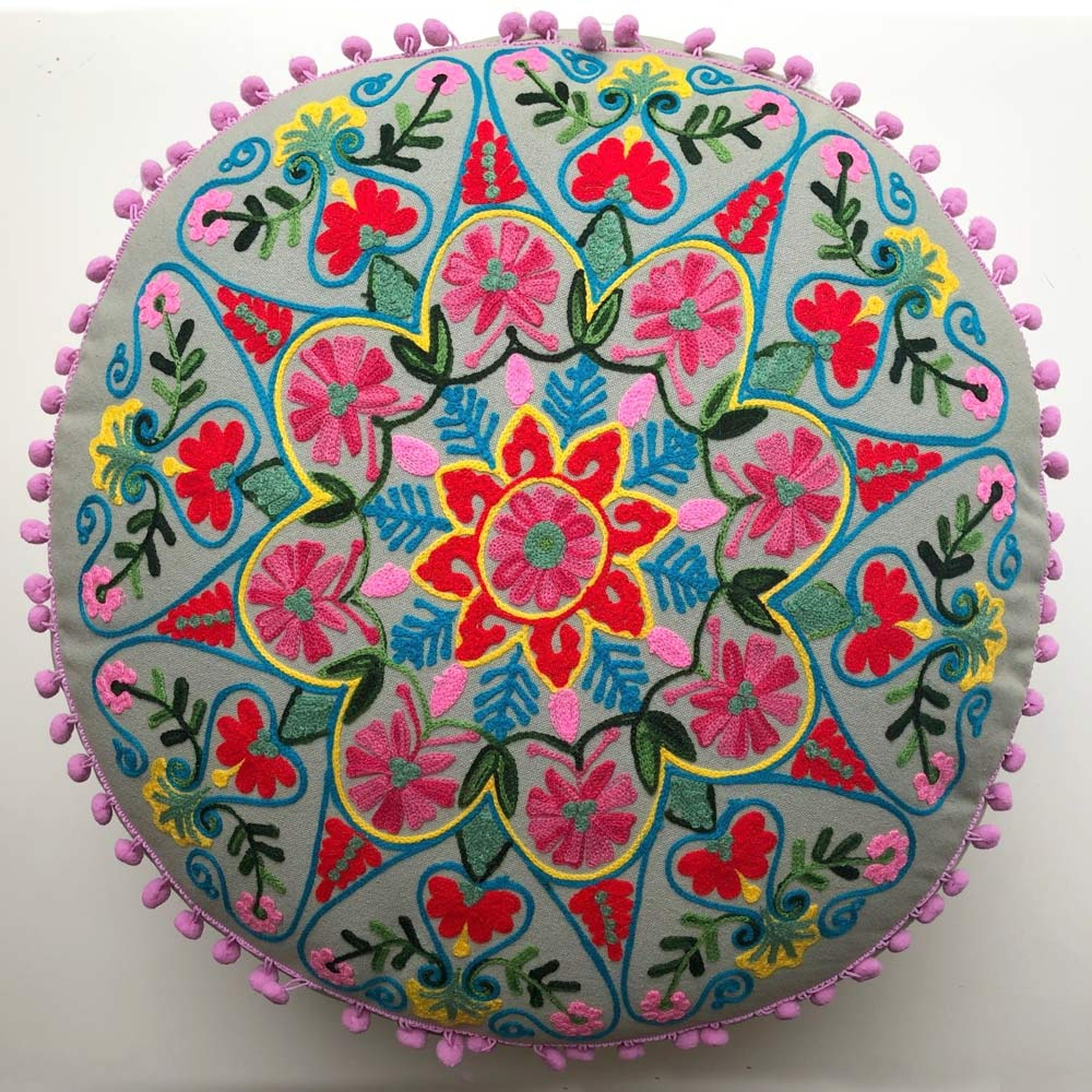 Grey Embroidered Flower Pouffe