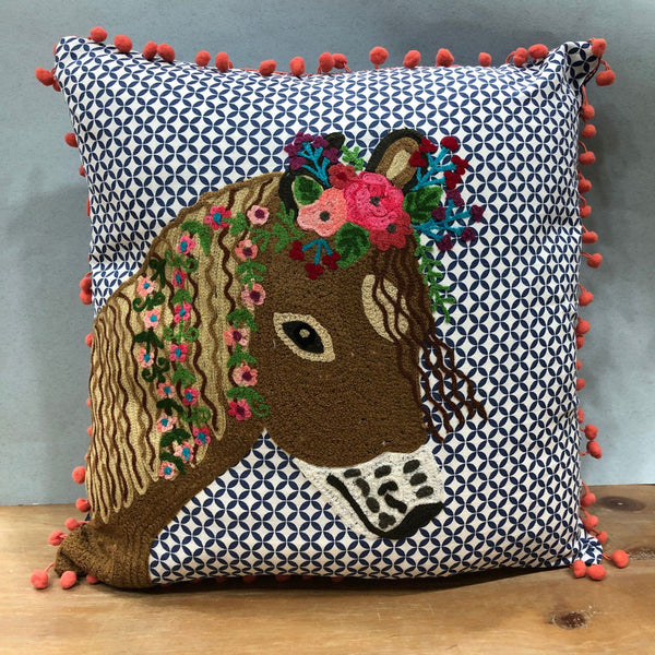 Embroidered Horse Cushion