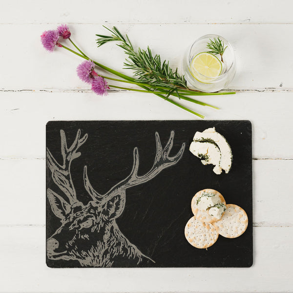 Etched Stag Cheeseboard - Rectangular