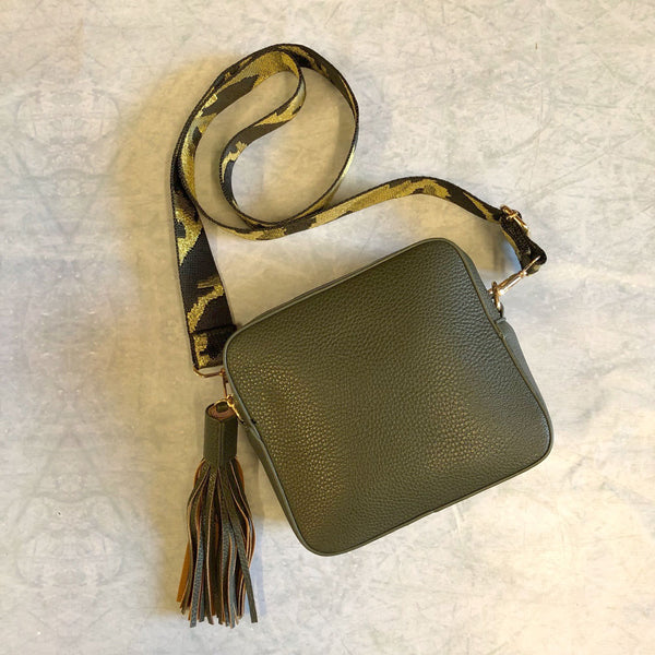 Khaki Crossbody Bag with Camo Gold/Green Strap