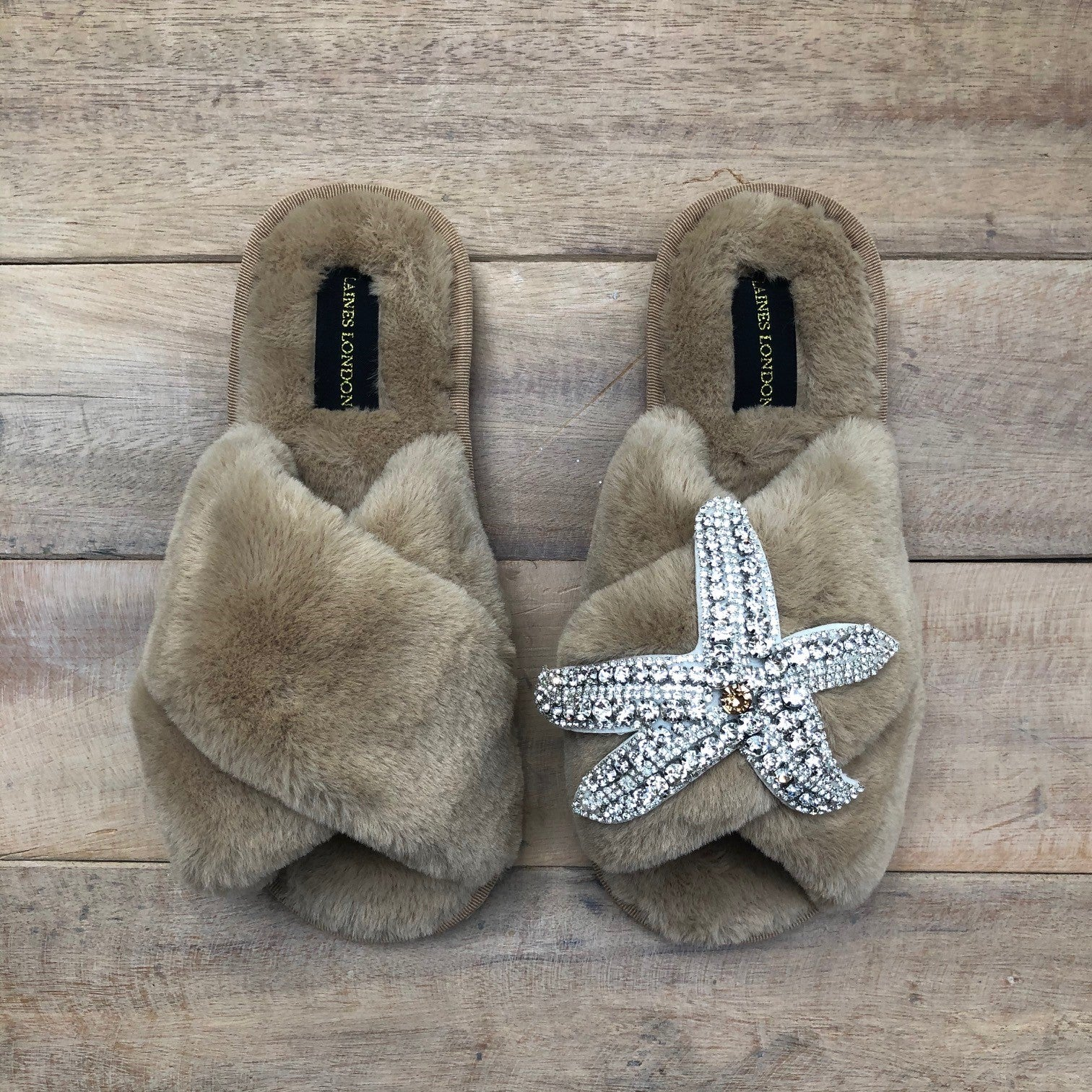 Caramel Starfish Slippers Silver
