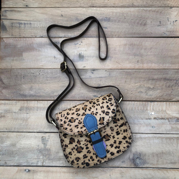 Leopard/GreyBlue Buckle Bag
