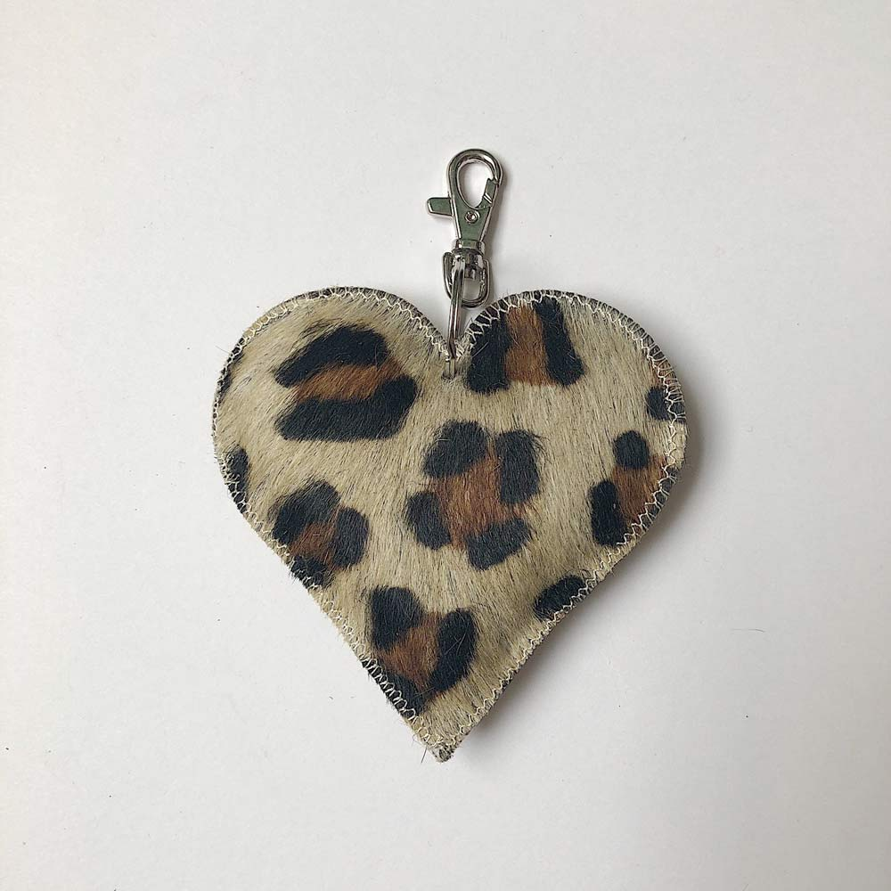 Heart Cowhide Bag Charm/Keyring