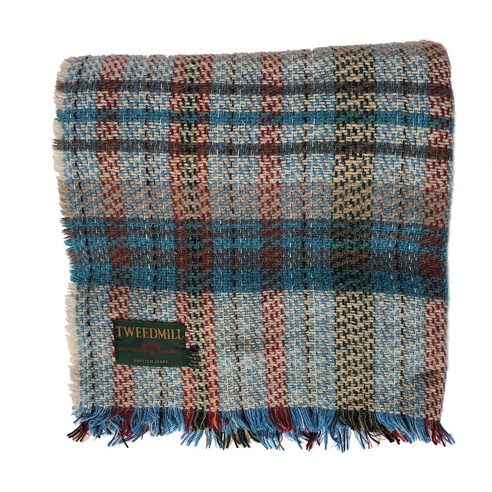 Recycled Wool Blanket - Light Blue Check