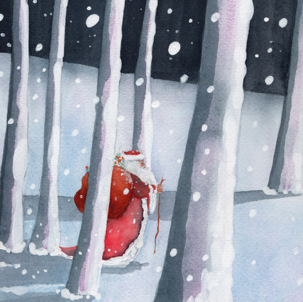 Pack Of 8 Christmas Cards - Santa In The Forest